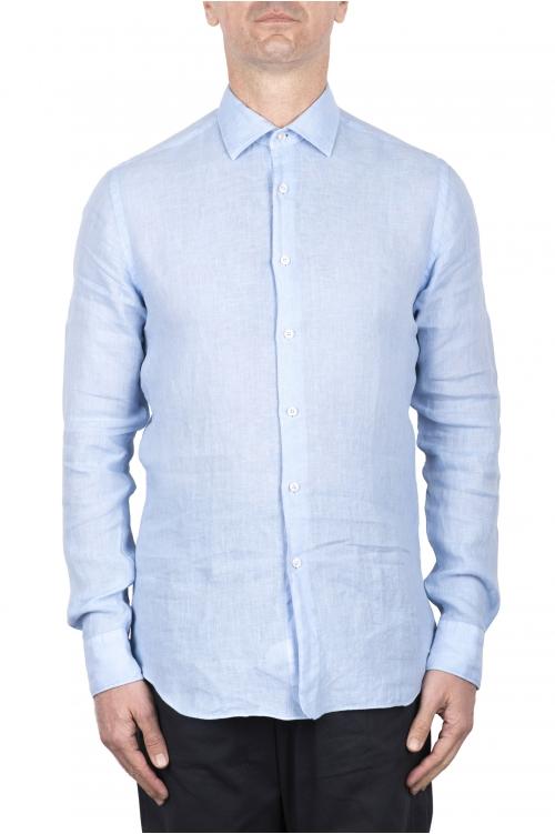 SBU 03355_2021SS クラシックな淡いブルーのリネンシャツ 01