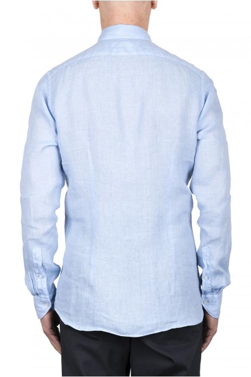 SBU 03355_2021SS Camisa clásica de lino azul claro 01