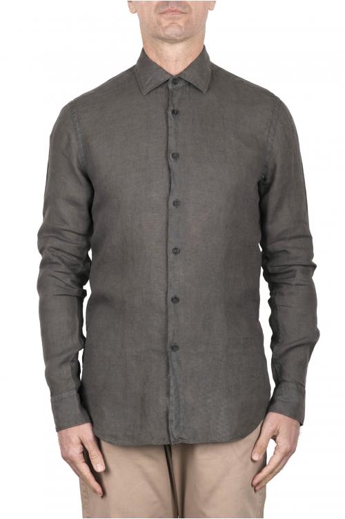 SBU 03356_2021SS Camisa clásica de lino verde 01
