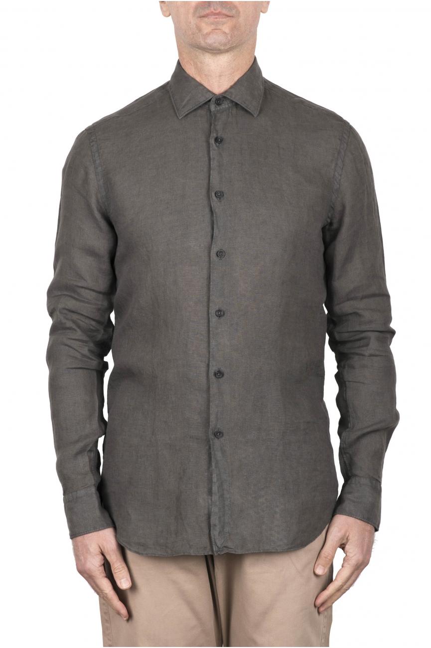 SBU 03356_2021SS Classic green linen shirt 01