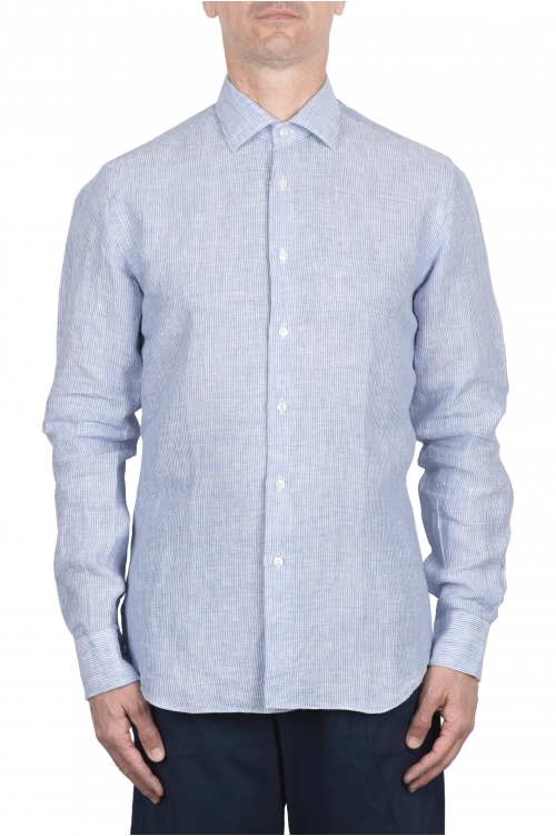 SBU 03357_2021SS Camicia classica in lino rigata bianca e blu 01