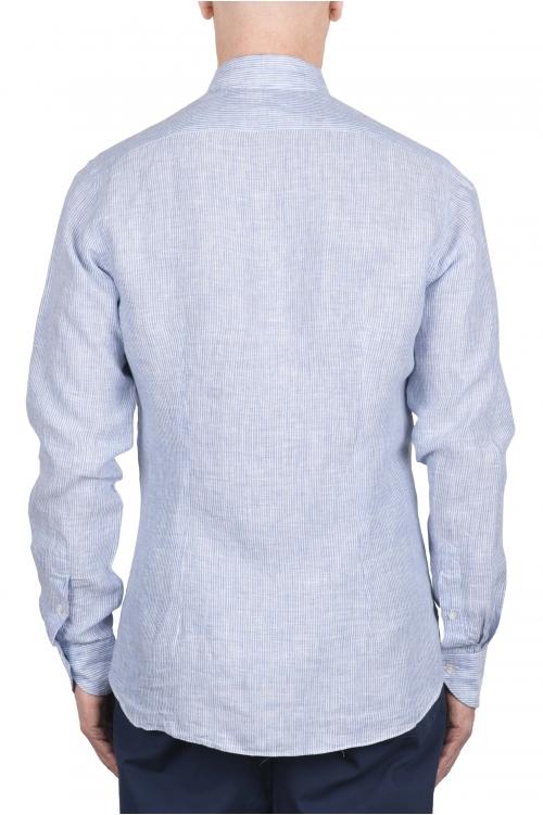 SBU 03357_2021SS クラシックな青と白のストライプのリネンシャツ 01