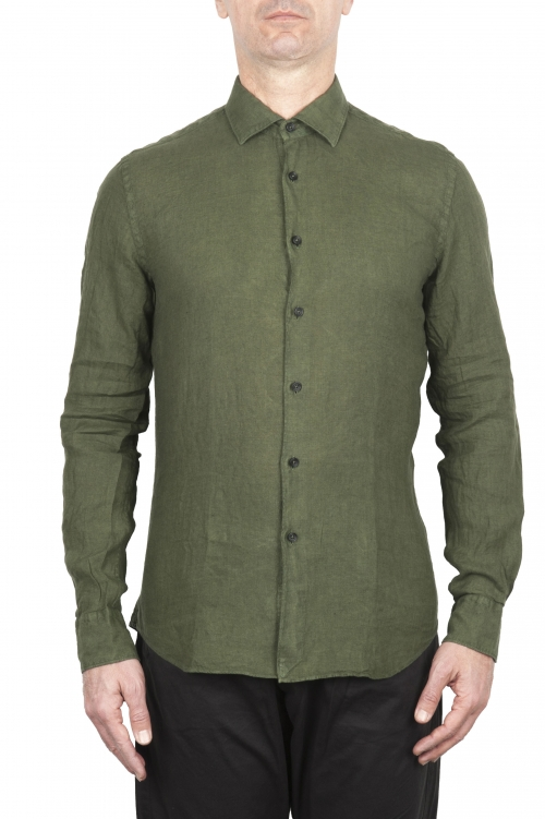 SBU 03358_2021SS Camicia classica in lino verde 01