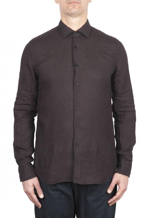 SBU 03359_2021SS Camisa clásica de lino marrón 01