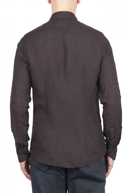 SBU 03359_2021SS Camicia classica in lino marrone 01