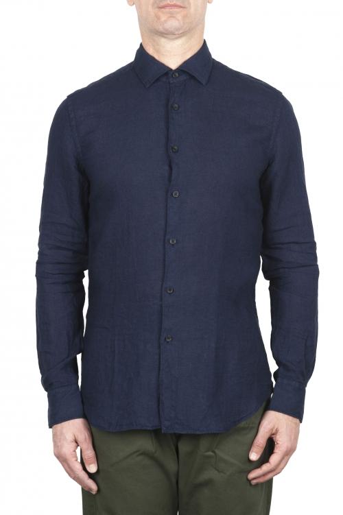 SBU 03361_2021SS Camicia classica in lino blu 01