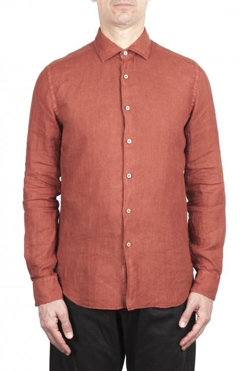 SBU 03362_2021SS Camicia classica in lino rosso mattone 01