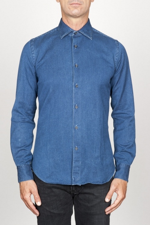 SBU 00926 Classic point collar natural dark indigo blue cotton shirt 01
