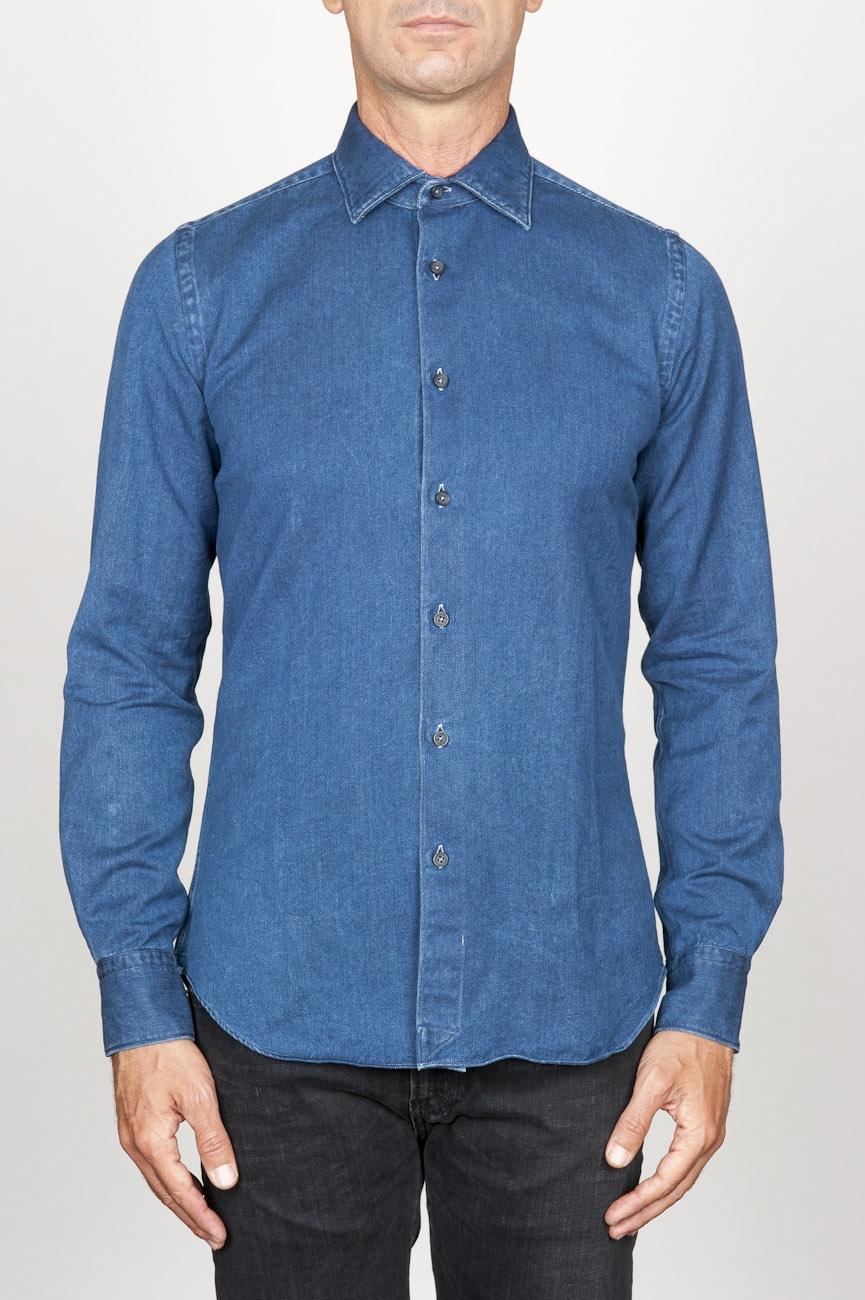 SBU 00926 Chemise classique bleu indigo sombre en coton à col pointu 01