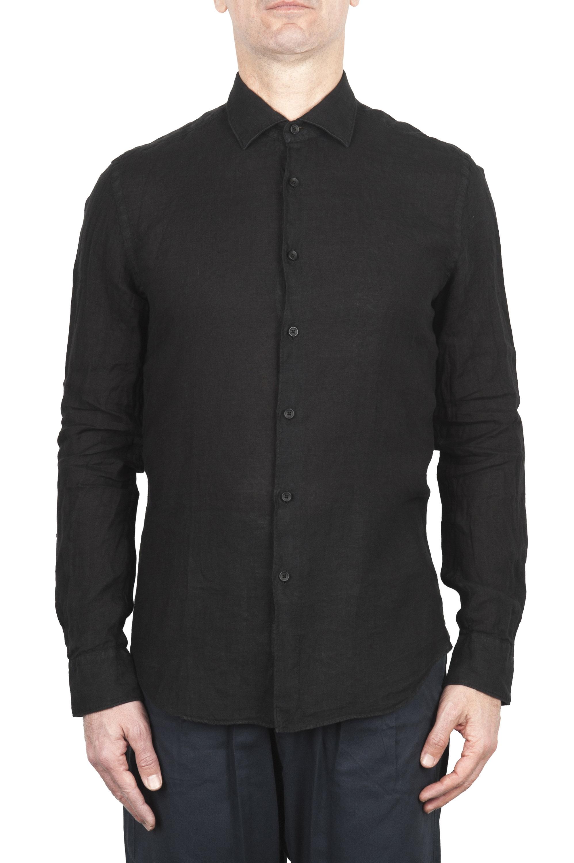 SBU 03363_2021SS Classic black linen shirt 01