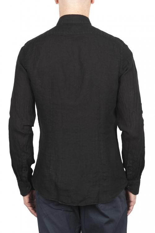 SBU 03363_2021SS Camicia classica in lino nera 01