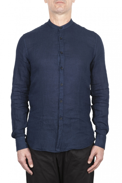 SBU 03364_2021SS Camisa clásica azul de lino de cuello mao 01