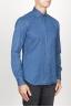 SBU 00926 Chemise classique bleu indigo sombre en coton à col pointu 02