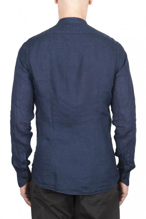 SBU 03364_2021SS Classic mandarin collar blue linen shirt 01