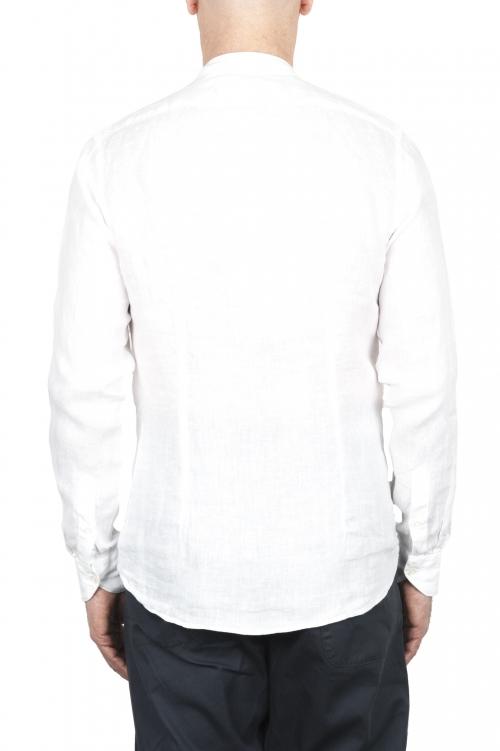 SBU 03365_2021SS クラシックなマンダリンカラーの白いリネンシャツ 01