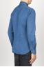 SBU 00926 Chemise classique bleu indigo sombre en coton à col pointu 03