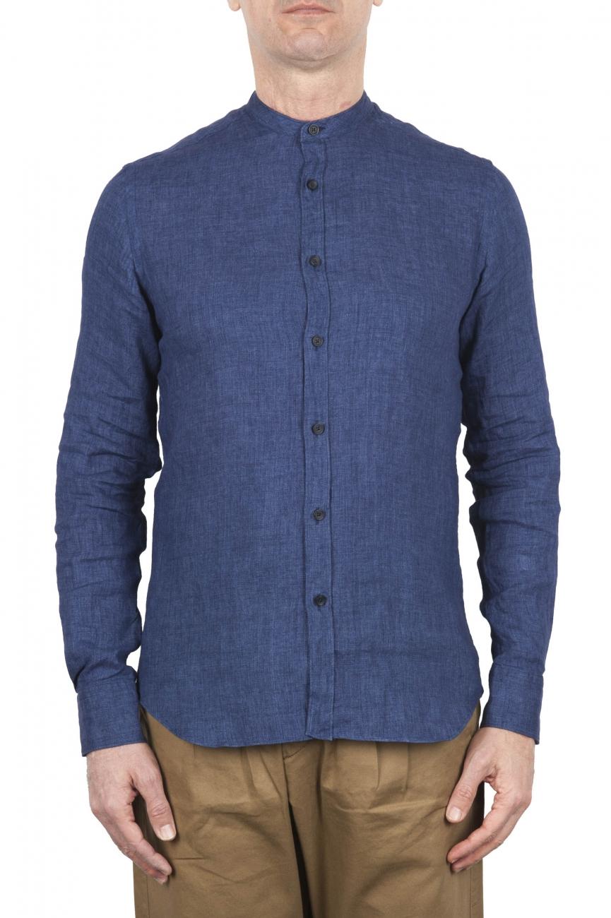 SBU 03366_2021SS Classic mandarin collar blue linen shirt 01