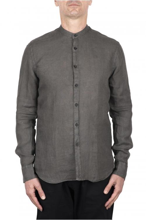 SBU 03367_2021SS Classic mandarin collar olive green linen shirt 01