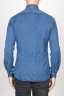 SBU 00926 Chemise classique bleu indigo sombre en coton à col pointu 04