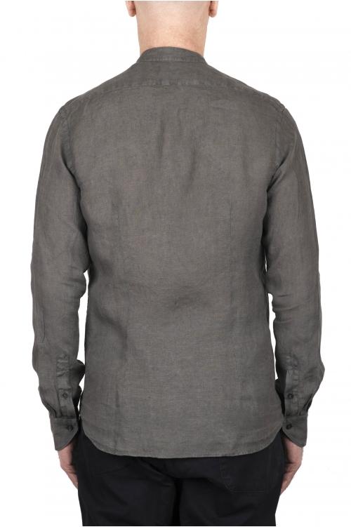 SBU 03367_2021SS クラシックなマンダリンカラーのオリーブグリーンのリネンシャツ 01