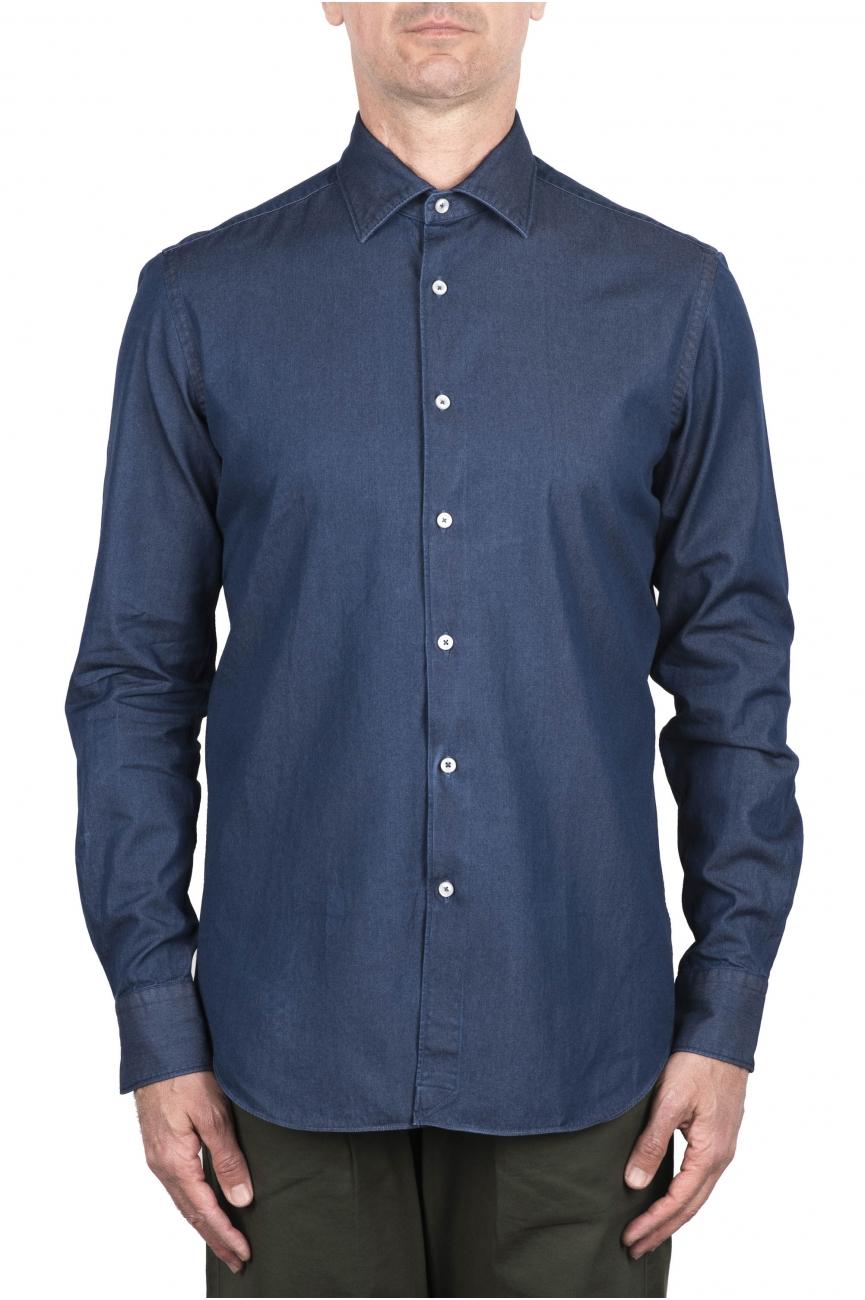 SBU 03368_2021SS Navy blue denim cotton shirt 01