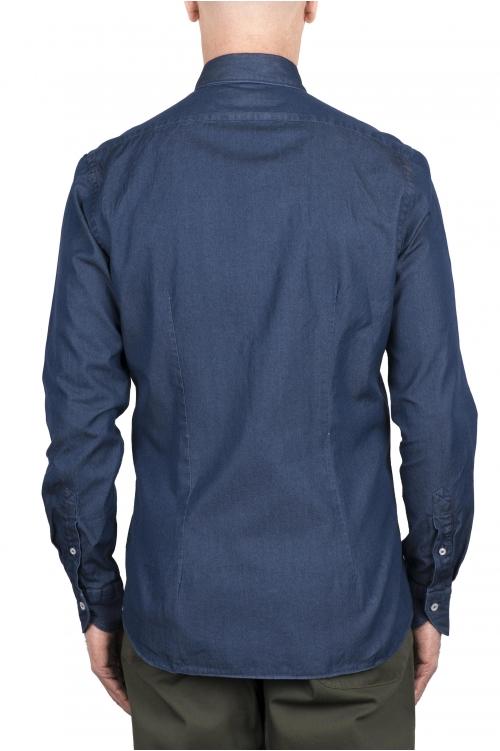 SBU 03368_2021SS Camisa de algodón vaquera azul marino 01