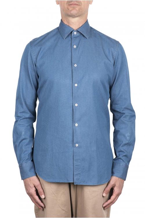 SBU 03369_2021SS Camisa de algodón vaquera azul índigo 01