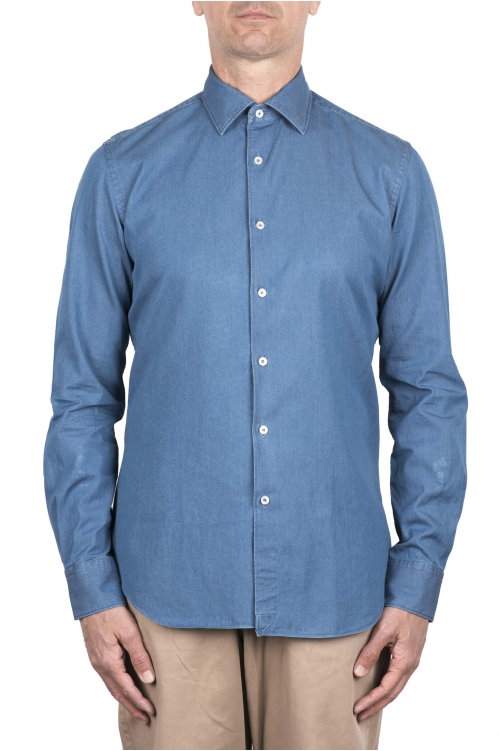 SBU 03369_2021SS Indigo blue denim cotton shirt 01