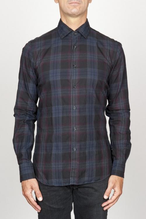 SBU 00927 Camicia classica collo a punta in cotone madras a quadri blue 01