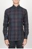 SBU 00927 クラシックなポイントの襟ブルーのマドラスチェッカーの綿のシャツ 01