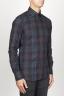 SBU 00927 クラシックなポイントの襟ブルーのマドラスチェッカーの綿のシャツ 02