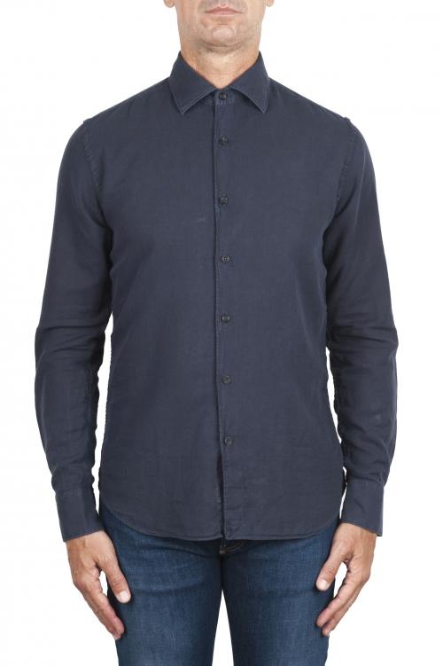 SBU 03376_2021SS Camisa de sarga de algodón azul marino 01