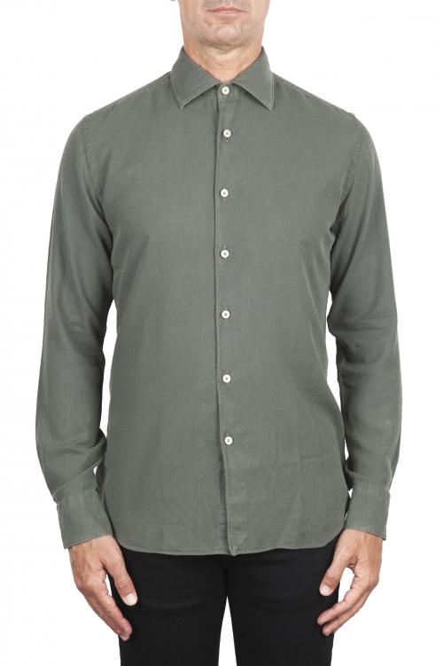 SBU 03377_2021SS Green cotton twill shirt 01