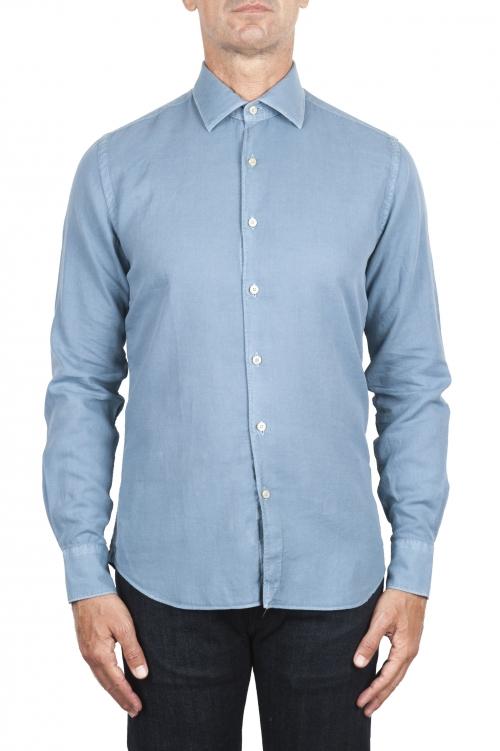 SBU 03378_2021SS Camicia in twill di cotone blu 01