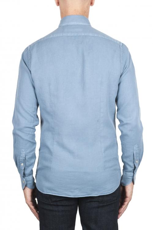SBU 03378_2021SS Camisa de sarga de algodón azul 01