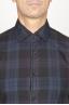 SBU 00927 Chemise classique à carreaux bleu madras à col pointu en coton 05