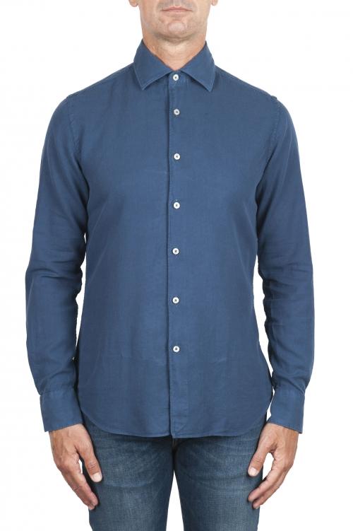 SBU 03381_2021SS Camisa de sarga de algodón índigo 01