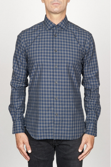 SBU 00928 Camicia classica collo a punta in cotone a quadretti blue 01