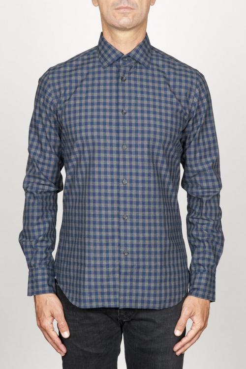 SBU 00928 クラシックなポイントの襟青いチェッカーの綿のシャツ 01