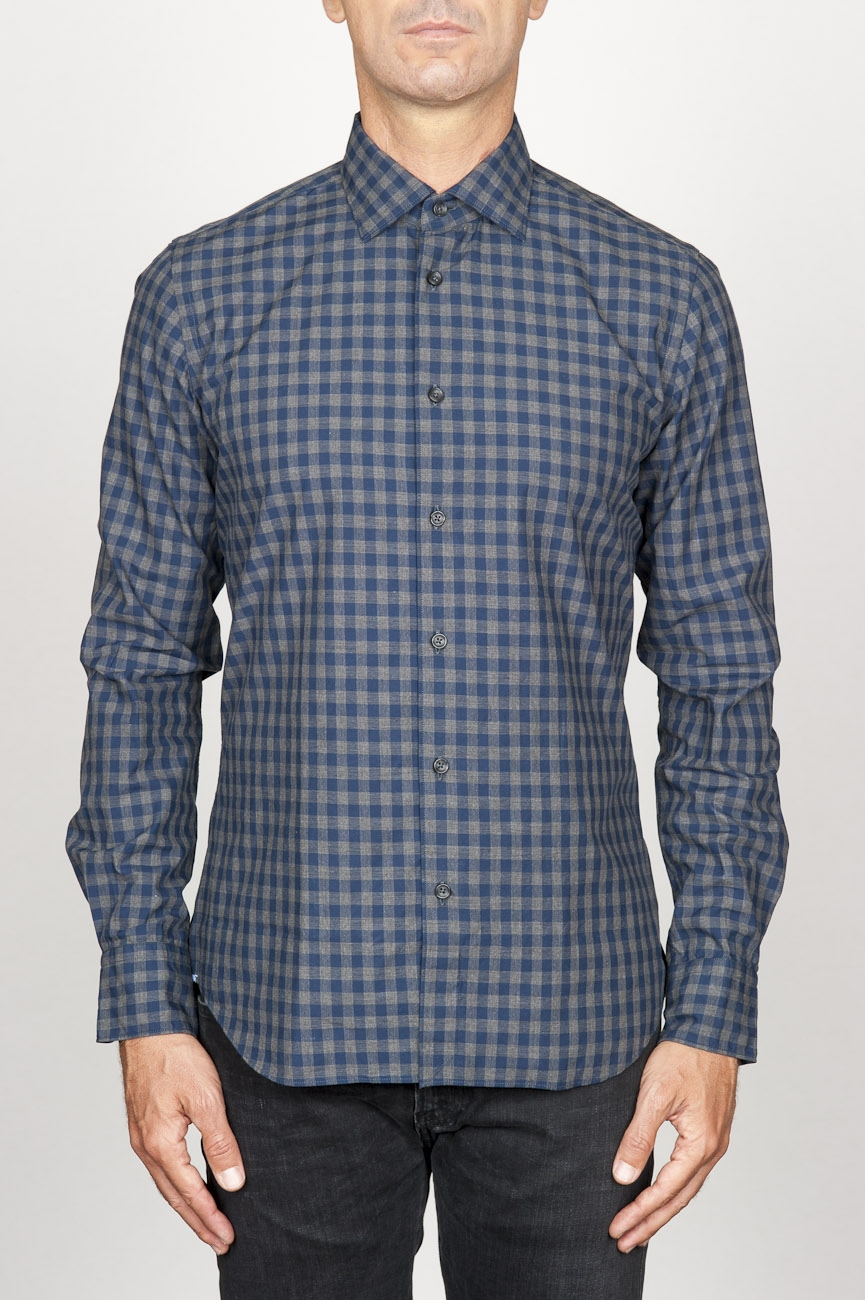 SBU 00928 Clásica camisa azul de cuadros de algodón con cuello de punta  01