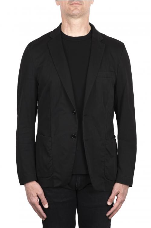 SBU 03382_2021SS Blazer de algodón negro con botonadura sencilla 01