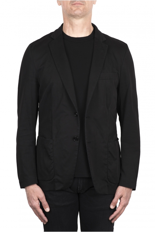 SBU 03382_2021SS Single breasted black cotton blazer 01