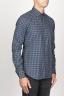 SBU 00928 クラシックなポイントの襟青いチェッカーの綿のシャツ 02
