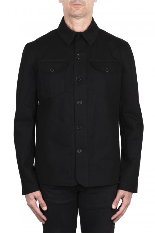 SBU 03384_2021SS 黒綿のオーバーシャツ 01