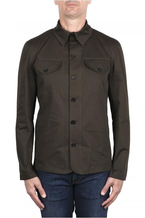 SBU 03385_2021SS Camicia in cotone tecnico verde 01