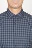 SBU 00928 Clásica camisa azul de cuadros de algodón con cuello de punta 05