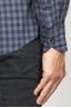 SBU 00928 Clásica camisa azul de cuadros de algodón con cuello de punta 06
