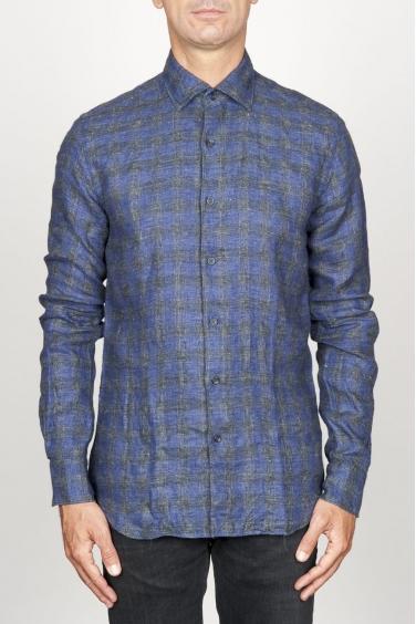 SBU 00929 Camicia classica collo a punta in lino a quadri grigia 01