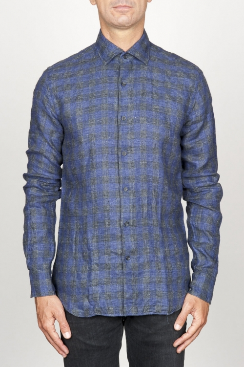 Camicia classica collo a punta in lino a quadri grigia