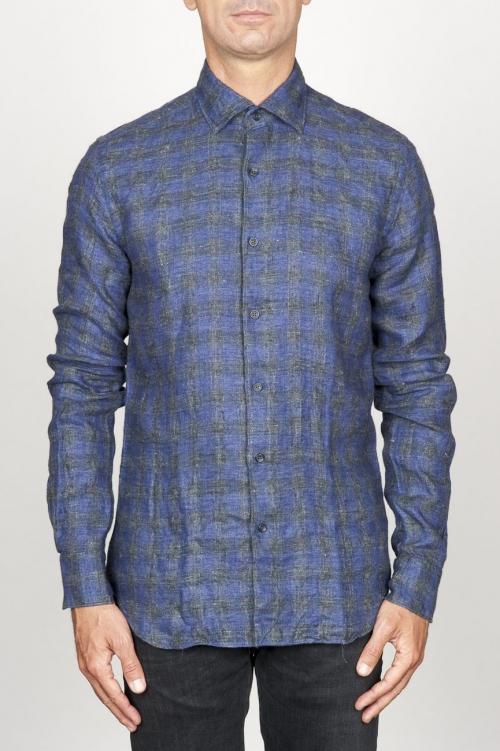 Clásica camisa gris de cuadros de lino con cuello de punta